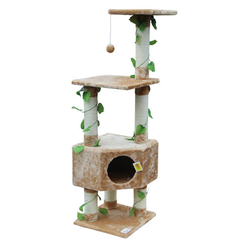 Image of 135Cm Cat Gym Scratching Post Tree Medium-BeigeAfterpay ZipPay Australia Melbourne Sydney Adelaide Gold Coast