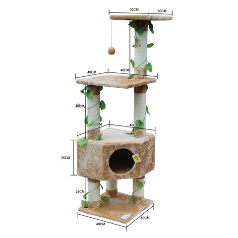 Image of 135cm Cat Gym Scratching Post Tree Medium-Beige