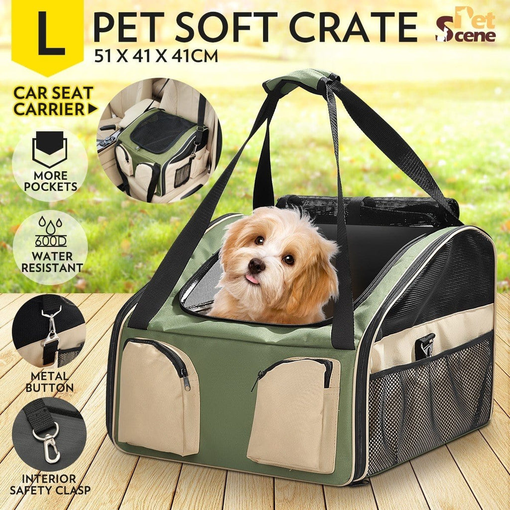 Portable Foldable Soft Covered Dog Crate-Large-Army Green/Beige