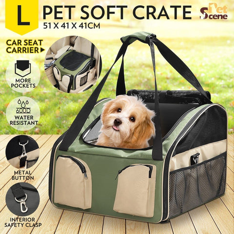 Image of Portable Foldable Soft Covered Dog Crate-Large-Army Green/Beige