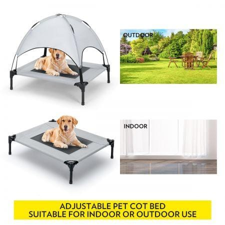 Heavy Duty Pet Trampoline Cot with Cot Canopy