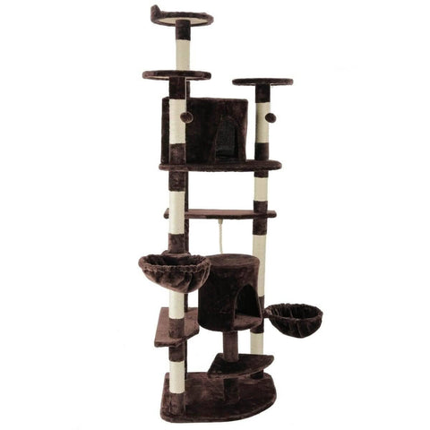 Image of Healthy Indoor Cat Scratching Post Plush Cover Condo Cat Tree 2 Bed Condo Cat Tower Equipped With Hanging Mouse