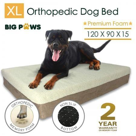 Big Paws 15cm Thick Extra Large 100% Memory Foam Dog Bed Orthopedic Pet Kennel Cushion - Beige