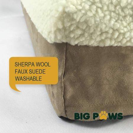 Image of Big Paws 15cm Thick Extra Large 100% Memory Foam Dog Bed Orthopedic Pet Kennel Cushion - Beige