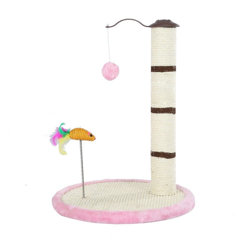 Image of Cat Scratching Pole Tree Pet Climbing Frame Scratcher With Toys 53Cm - Pink