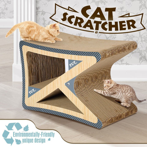 Image of Cat Scratching Post Corrugated Cardboard Scratcher Scratchboard - Triangle Shape