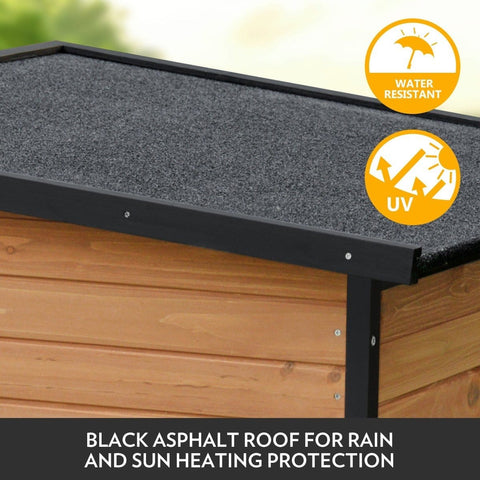 XL Wooden Dog Kennel All-Weather Flat Roof Pet House w/Patio & Window - Black