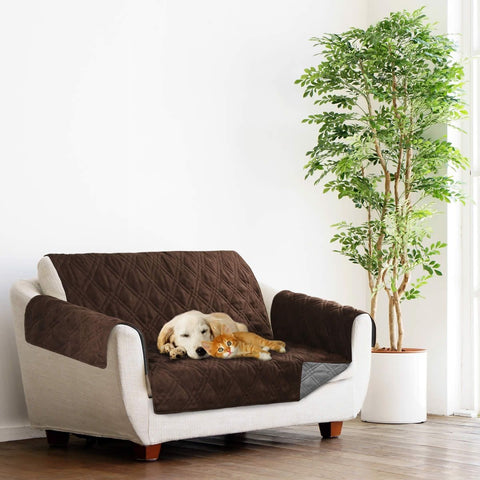 Image of Sprint Industries Pet Sofa Couch Cover Love Seat Size - Chocolate/Charcoal Reversible