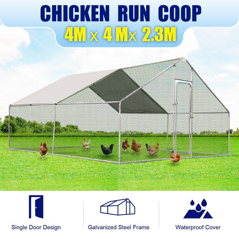 Image of New Large Chicken Coop Metal Guinea Pig House Rabbit Hutch Outdoor Cage 4 X 4 X 2.32M