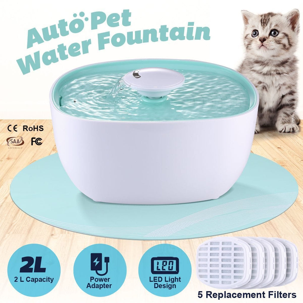 2L Automatic Dog Drinking Fountain Dispenser Pet Cat Water Feeder Bowl W/Led Light 5Pcs Filter