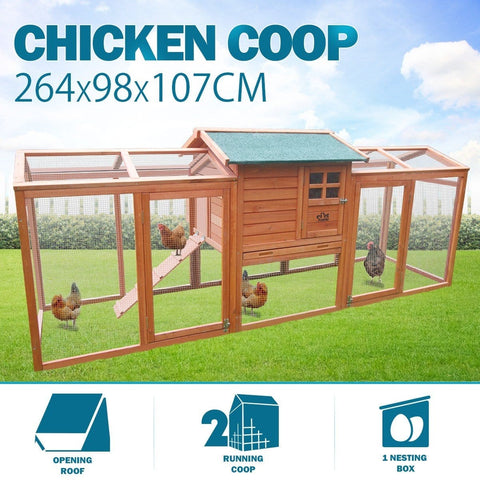 Image of Large Chicken Rabbit Coop Run Cage House 2.6m x 1m x 0.9m