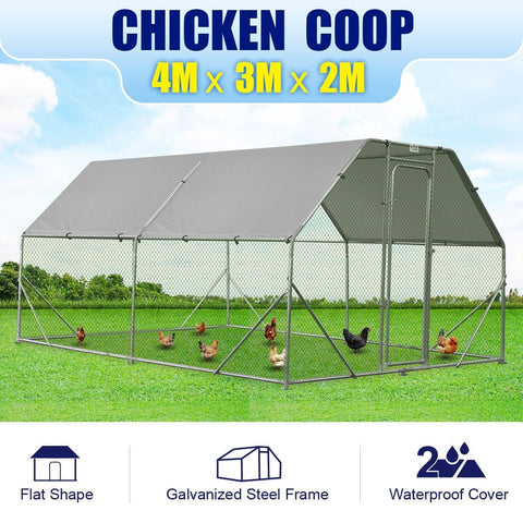 Image of Chicken Run Coop Rabbit Hutch Guinea Pig Cage Cat Duck Hen Chook Enclosure - 4Mx3M +2Pcs Cover