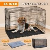Image of Dog Crate Kennel Foldable Collapsible Metal Pet Cat Puppy Cage 36""