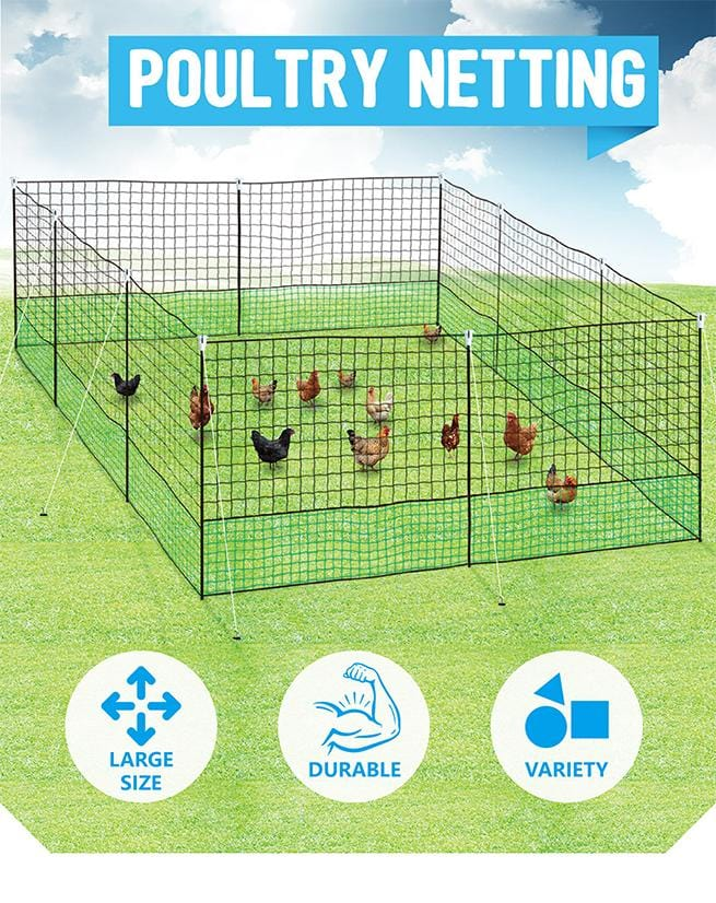 Poultry Netting Chooks Ducks Hens W/ 10 Posts 21m x 125cm