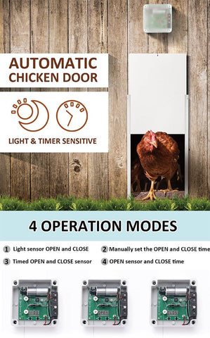 Image of Automatic Door Opener Chicken Coop with Timer and Light Sensor