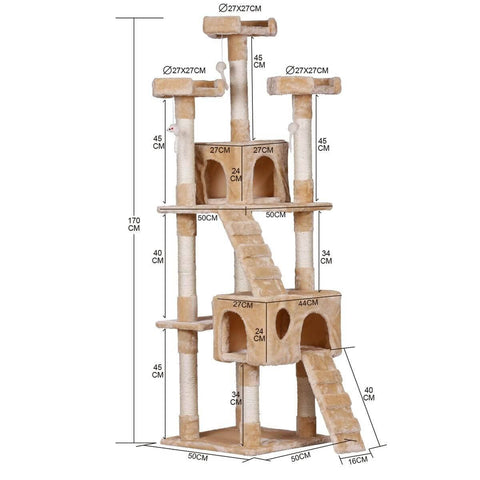 Image of 170cm Beige Cat Scratching Post and Tree Gym House Product Dimensions