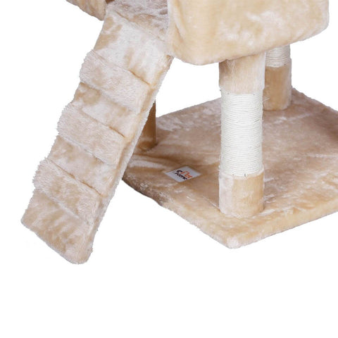 Image of 170cm Beige Cat Scratching Post and Tree Gym House Soft Plush Base