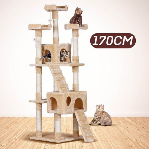 Image of 170cm Large Beige Cat Tree Tower Play Gym