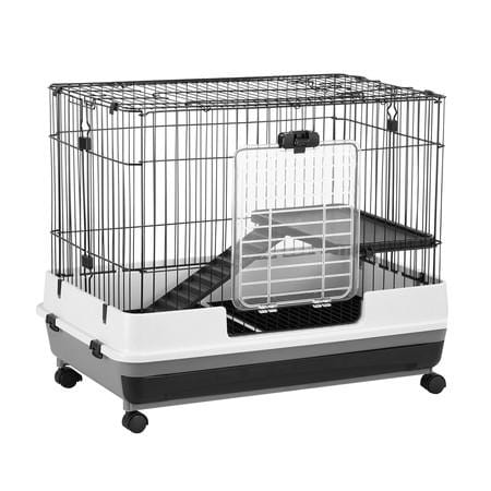 Image of New Metal Rabbit Cage Hutch Cat Ferret Guinea Pigs House Small Animal Home w/Wheel