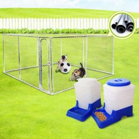 Image of 4m x 4m Kennel Run/Pet Enclosure and Pet Feeder and Water Dispenser Set