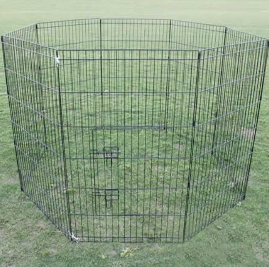 Dog Puppy Cat Crate Enclosure 8 Panel Steel Frame Long Lasting 61cm x 91cm 36""