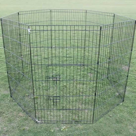 Image of Dog Puppy Cat Crate Enclosure 8 Panel Steel Frame Long Lasting 61cm x 91cm 36""