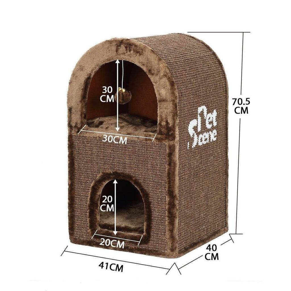 2-Level Cat Scratching Post Tower Pet Climbing Frame Scratcher Barrel House Diameter