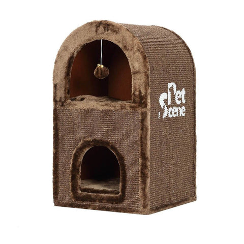 Image of 2-Level Cat Scratching Post Tower Pet Climbing Frame Scratcher Barrel House Left Side