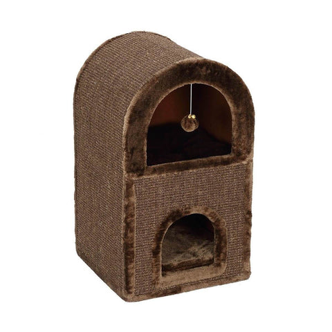 Image of 2-Level Cat Scratching Post Tower Pet Climbing Frame Scratcher Barrel House Right side