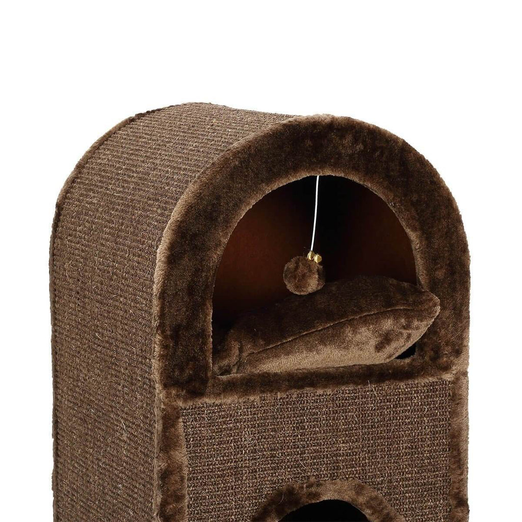 2-Level Cat Scratching Post Tower Pet Climbing Frame Scratcher Barrel House Top