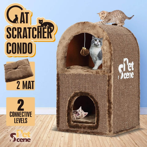 Image of 2-Level Cat Scratching Post Tower Pet Climbing Frame Scratcher Barrel House