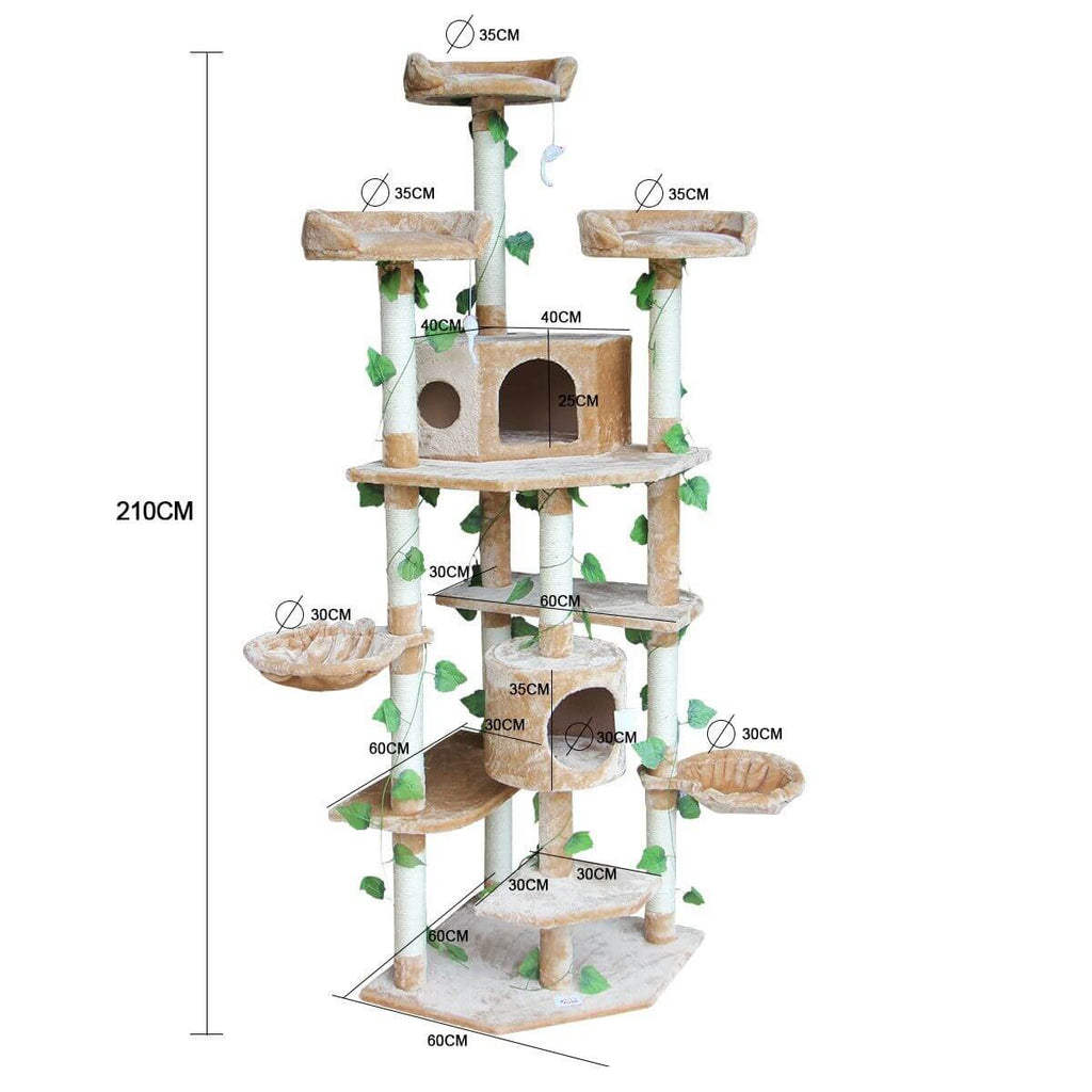 2.1M Multi-Level Cat Scratching Post Climbing Tree-Extra Large-Beige Product Dimensions