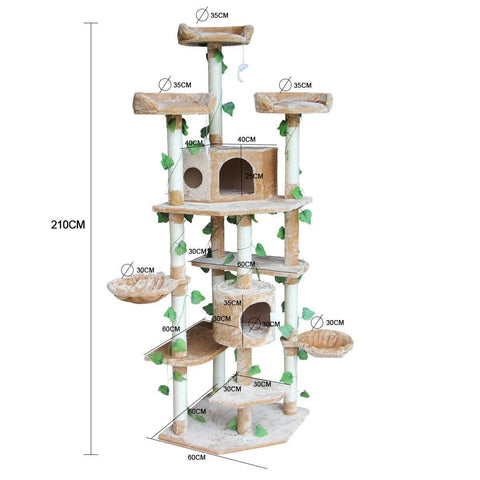Image of 2.1M Multi-Level Cat Scratching Post Climbing Tree-Extra Large-Beige Product Dimensions