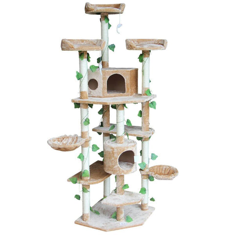 Image of 2.1M Multi-Level Cat Scratching Post Climbing Tree-Extra Large-Beige