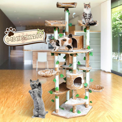 Image of 2.1M Multi-Level Cat Scratching Post Climbing Tree-Extra Large Beige