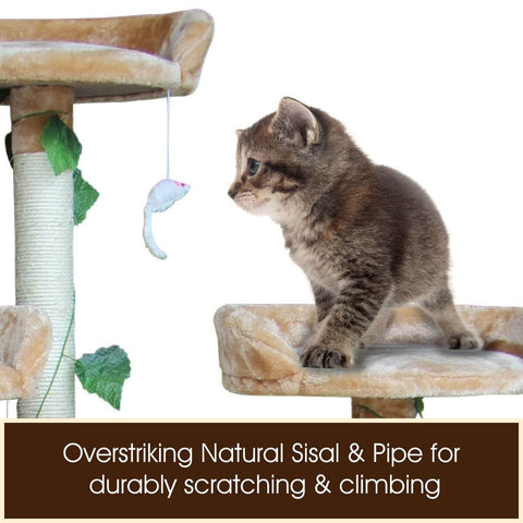 2.1M Multi-Level Cat Tree  Natural Sisal Poles