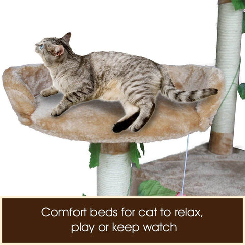 Image of 2.1M Multi-Level Cat Tree with Comfort Beds for Cats to Relax Play or Keep Watch