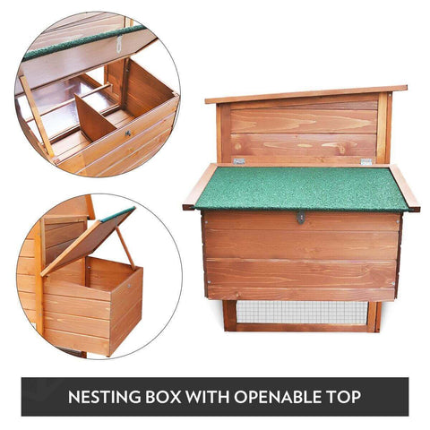 Image of Quality Fir Chicken Coop Run House Outdoor Spacious Play Area Pet Rabbit Ducks Guinea Pigs Chicken Cage Nesting Box Nesting Box With Openable Top