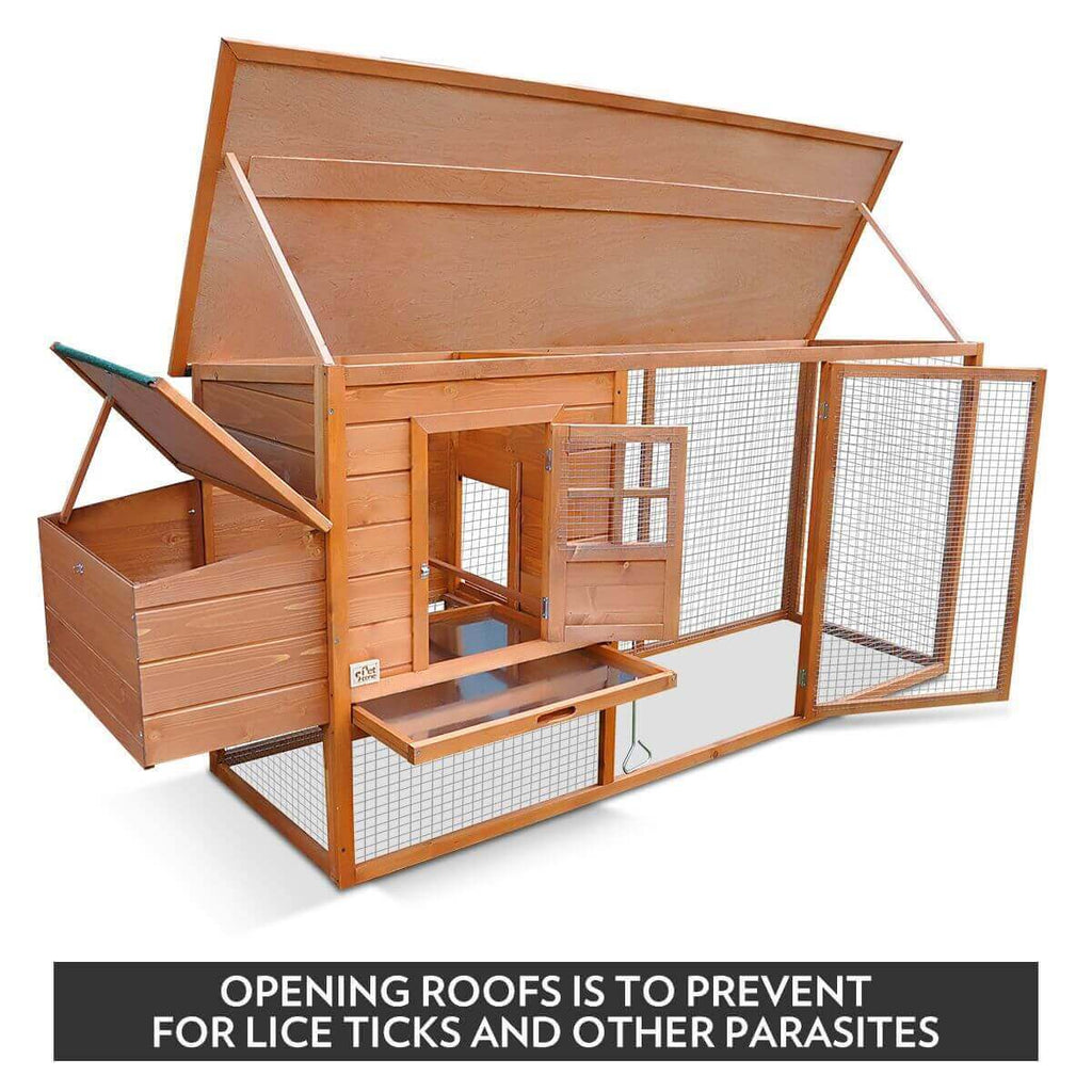 Quality Fir Chicken Coop Run House Outdoor Spacious Play Area Pet Rabbit Ducks Guinea Pigs Chicken Cage Nesting Box Opening Roof