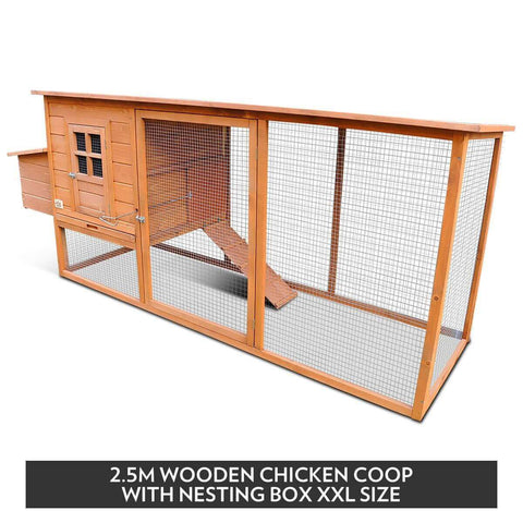 Image of 2.5 Meter Quality Fir Chicken Coop Run House Outdoor Spacious Play Area Pet Rabbit Ducks Guinea Pigs Chicken Cage Nesting Box