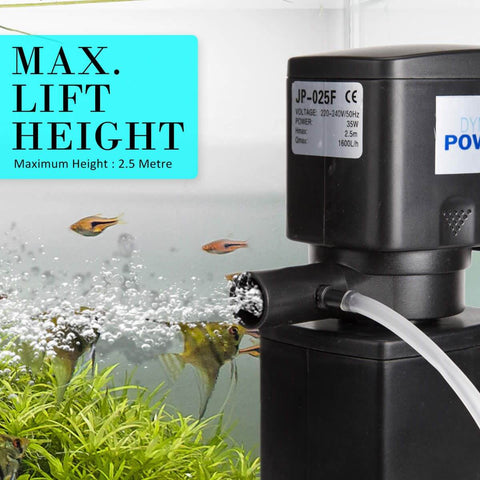2.5m 1600LH Aqua Aquarium Filter Pump Submersible Pump Max Lift Height 2.5m