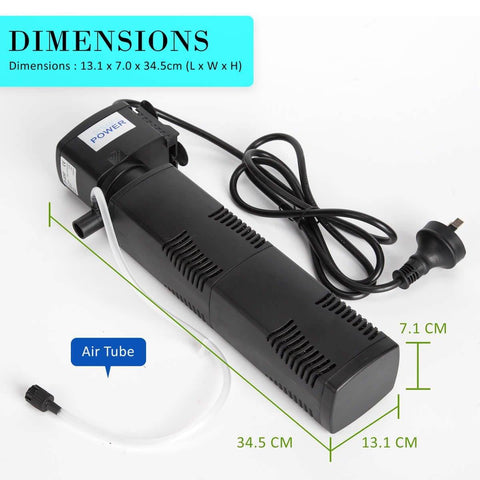 2.5m 1600LH Aqua Aquarium Filter Pump Submersible Pump Product Dimensions
