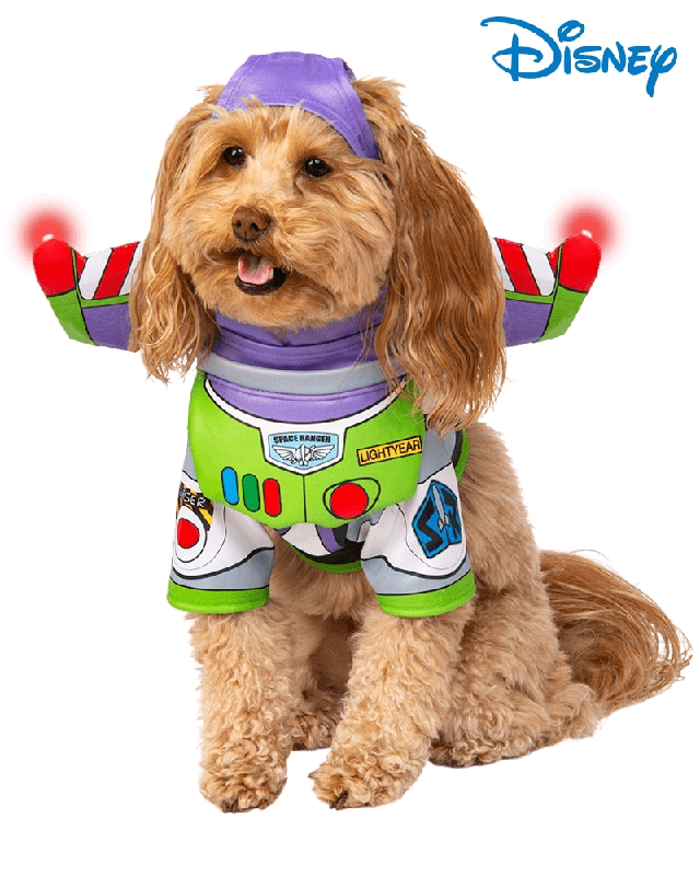 Dog Costume Clothes LED Light Up Toy Story Buzz Lightyear Superhero Dog Outfit