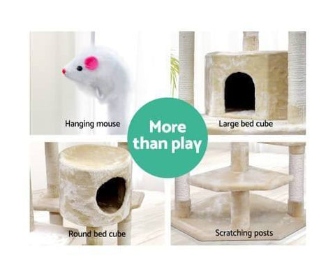Image of 203cm Giant Cat Tree with 2 Bed Cubes and 1 Cradle for Resting