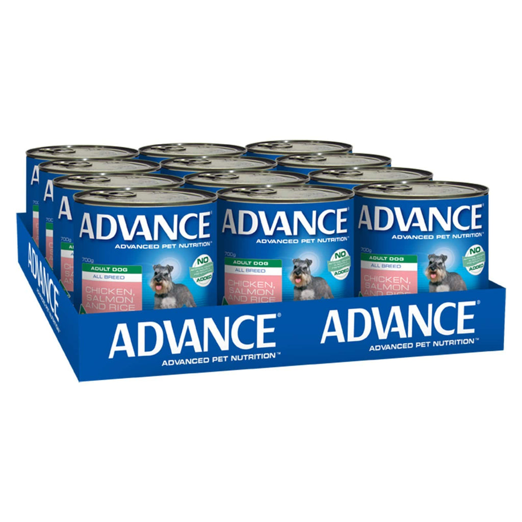 Advance Adult Wet Dog Food Chicken Salmon & Rice 12 x 700gms Everyday Pets