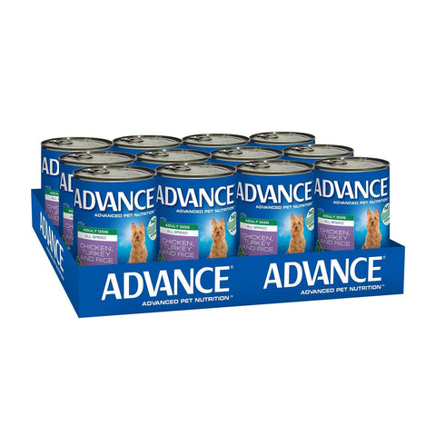 Image of Advance Adult Wet Dog Food Chicken Turkey & Rice 12 x 410gms Everyday Pets