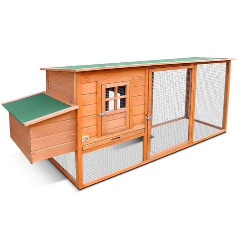 Image of Quality Fir Chicken Coop Run House Outdoor Spacious Play Area Pet Rabbit Ducks Guinea Pigs Chicken Cage Nesting Box