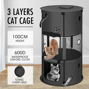 3-Layer Waterproof Cat Enclosure Easy Set-up Multifunction Cat Cage Foldable Pet Enclosure 57 x 57 x 100cm