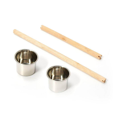 Image of 2 Stainless Steel Feeders and 2 Wooden Perches Accessory for Pet Bird Cage
