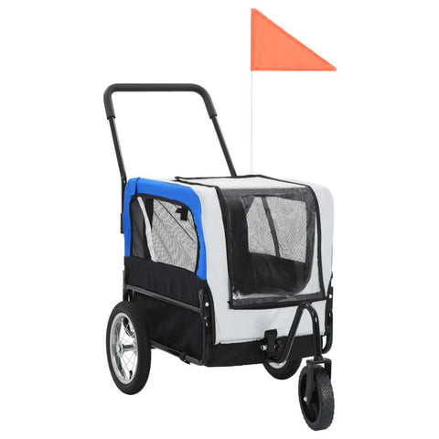 Image of 2-in-1 Pet Bike Trailer and Jogging Stroller Grey and Blue Everyday Pets